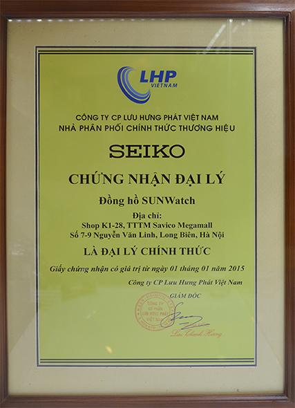 Giấy chứng nhận đại lý chính hãng đồng hồ Seiko